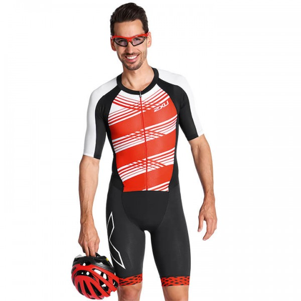 Body triathlon 2XU Compression nero - rosso