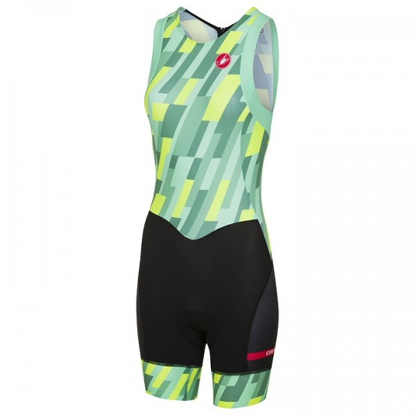 Body triathlon smanicato CASTELLI Short Distance giallo neon